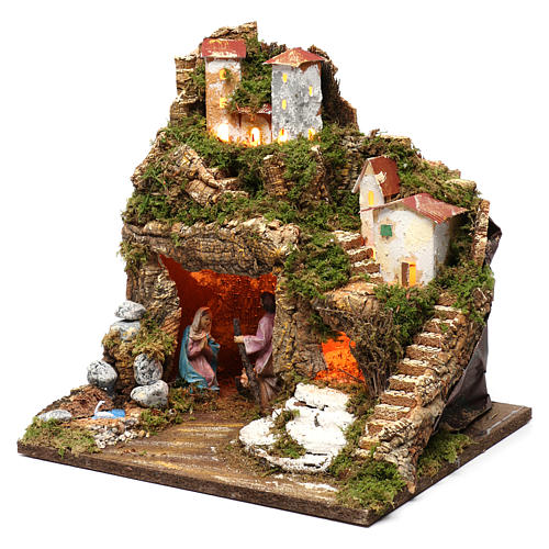 Stable for Nativity Scene 10 cm with Holy Family and lights 40X30X30 cm 2