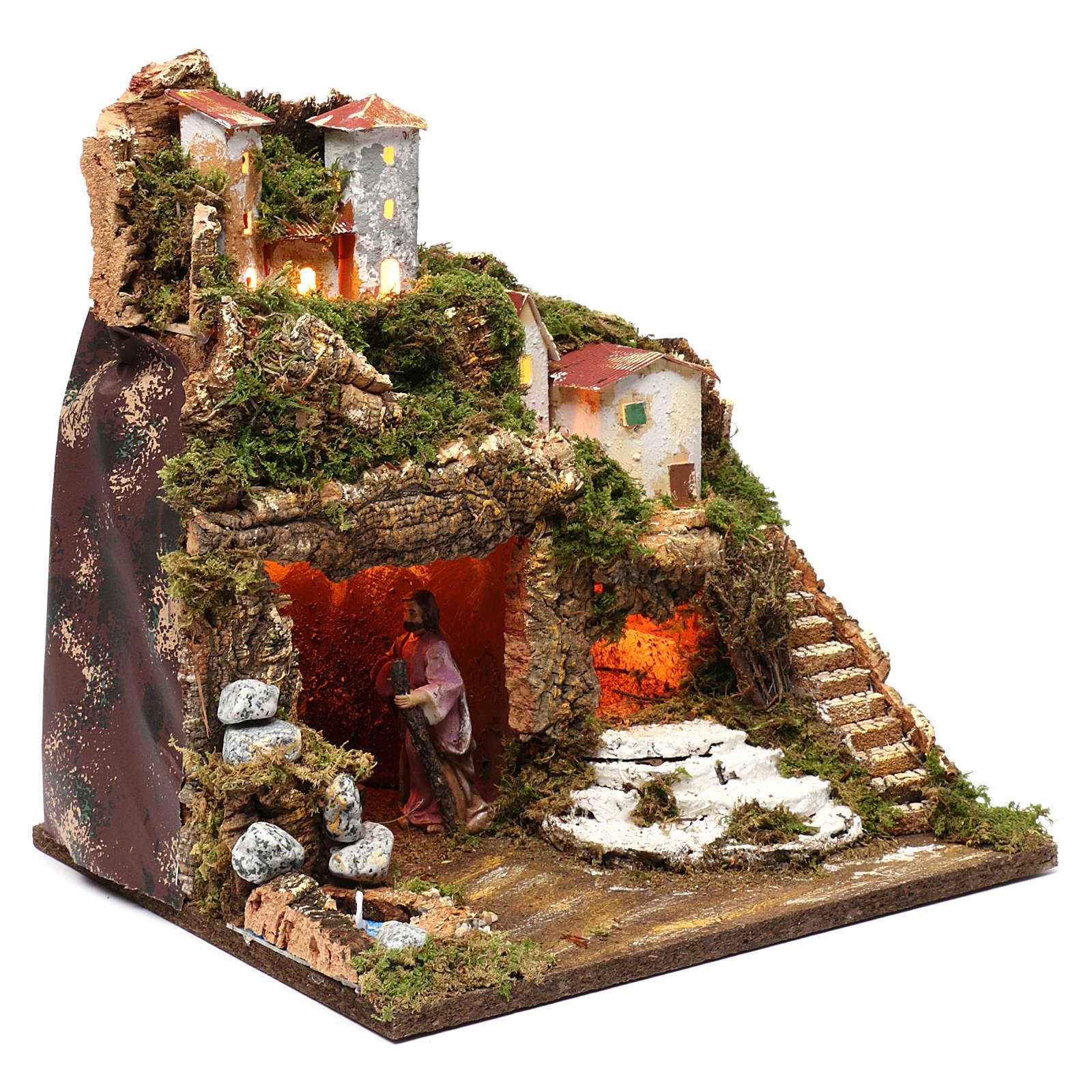 Cabaña con natividad para belén 10 cm y luces, tamaño 40x30x30 cm 4
