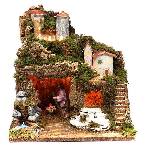 Cabaña con natividad para belén 10 cm y luces, tamaño 40x30x30 cm 1