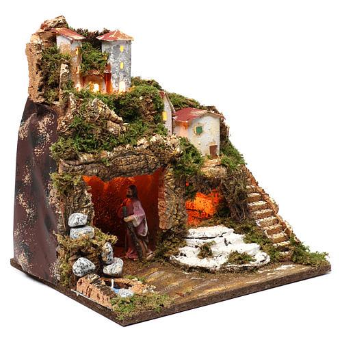 Cabaña con natividad para belén 10 cm y luces, tamaño 40x30x30 cm 3