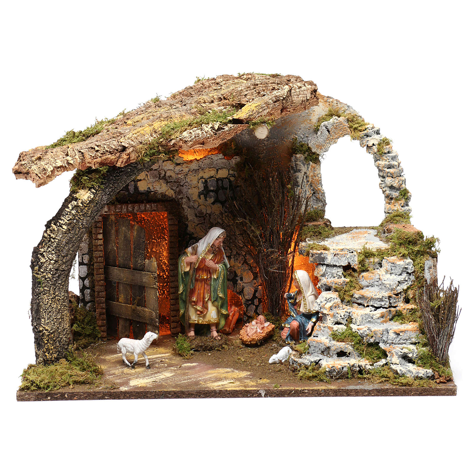 Stable for Nativity Scene 15 cm with Holy Family and lights, 40X50X30 cm 4