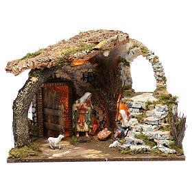Cabaña para belén 15 cm con natividad y luces, tamaño 40x50x30 cm s1