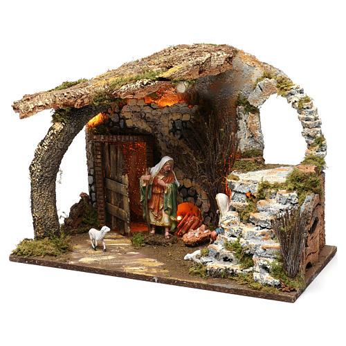 Cabaña para belén 15 cm con natividad y luces, tamaño 40x50x30 cm 2