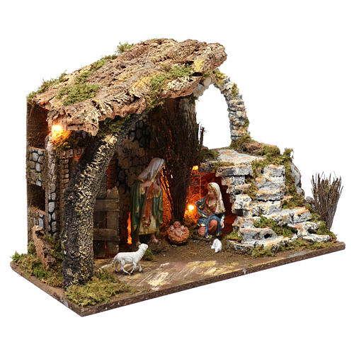 Cabaña para belén 15 cm con natividad y luces, tamaño 40x50x30 cm 3