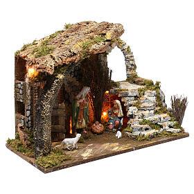 Cabane pour crèche 15 cm avec nativité et éclairage 35x50x30 cm s3