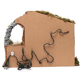 Cabane pour crèche 15 cm avec nativité et éclairage 35x50x30 cm s4