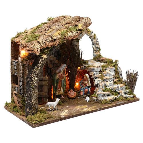 Cabane pour crèche 15 cm avec nativité et éclairage 35x50x30 cm 3