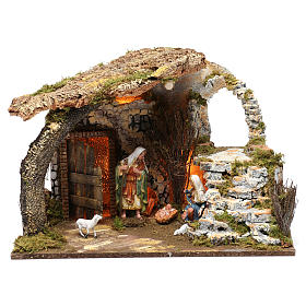 Cabin for 15 cm Nativity with Nativity Scene and lights, dimension 40X50X30 cm s1