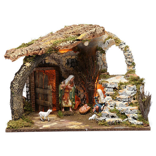 Cabin for 15 cm Nativity with Nativity Scene and lights, dimension 40X50X30 cm 1