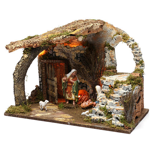 Cabin for 15 cm Nativity with Nativity Scene and lights, dimension 40X50X30 cm 2