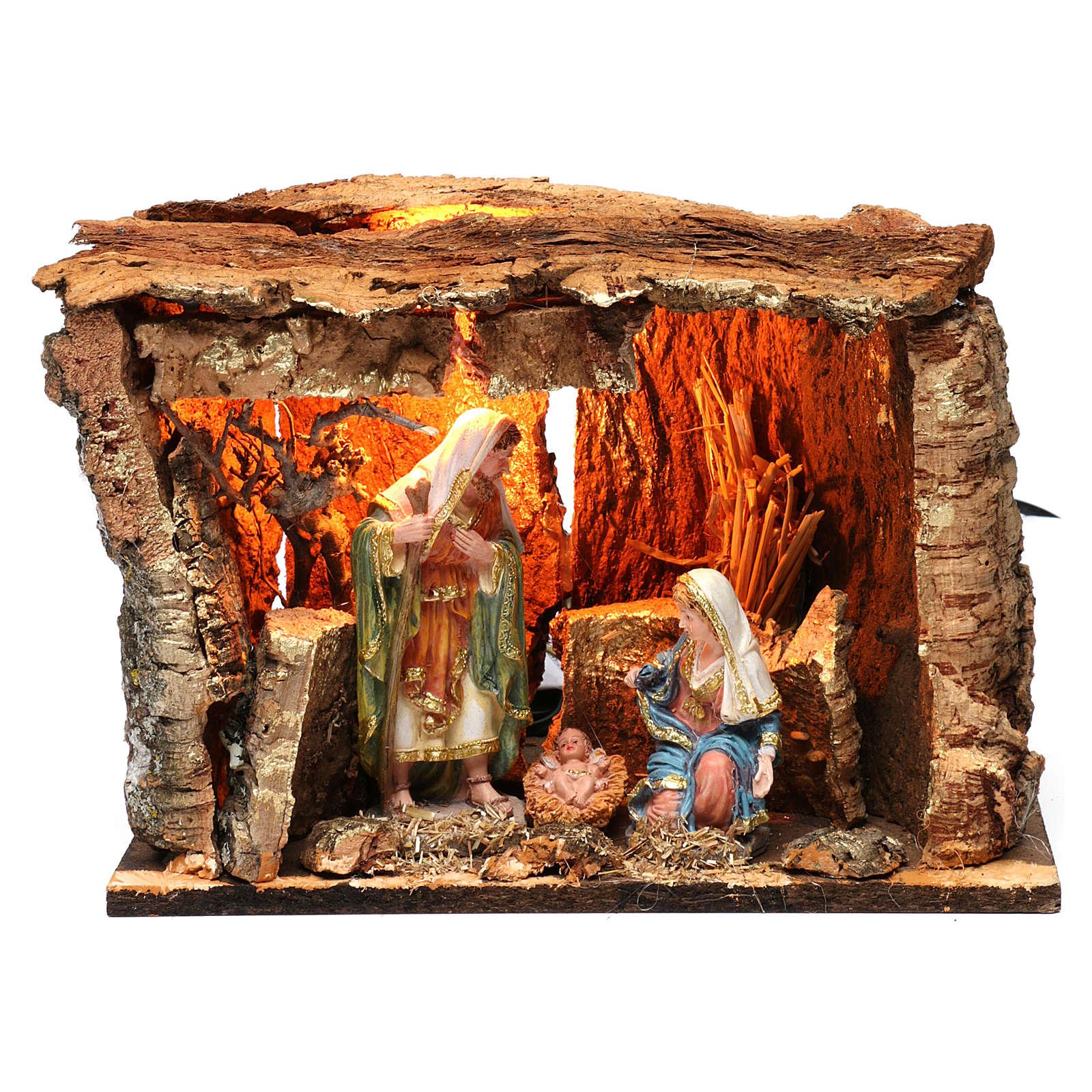 Cabane pour crèche 15 cm avec nativité et éclairage 20x30x20 cm différents modèles 4