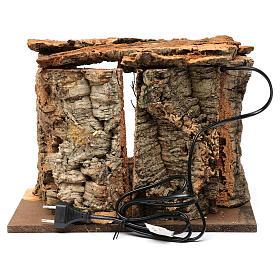 Cabane pour crèche 15 cm avec nativité et éclairage 20x30x20 cm différents modèles s5