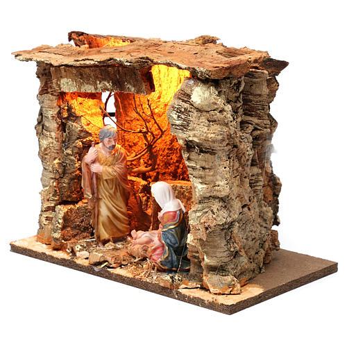 Cabane pour crèche 15 cm avec nativité et éclairage 20x30x20 cm différents modèles 3
