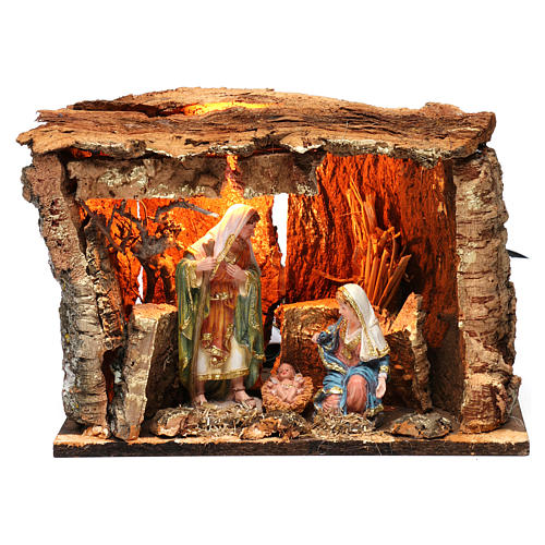 Cabane pour crèche 15 cm avec nativité et éclairage 20x30x20 cm différents modèles 6