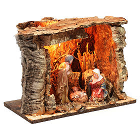 Barn for 15 cm Nativity with Nativity scene and lights, dimension 20X30X20 cm, assorted models s4