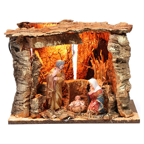 Barn for 15 cm Nativity with Nativity scene and lights, dimension 20X30X20 cm, assorted models 1