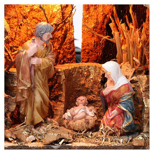 Barn for 15 cm Nativity with Nativity scene and lights, dimension 20X30X20 cm, assorted models 2