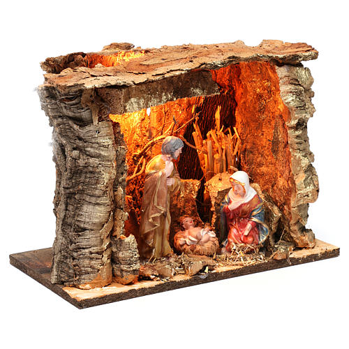 Barn for 15 cm Nativity with Nativity scene and lights, dimension 20X30X20 cm, assorted models 4