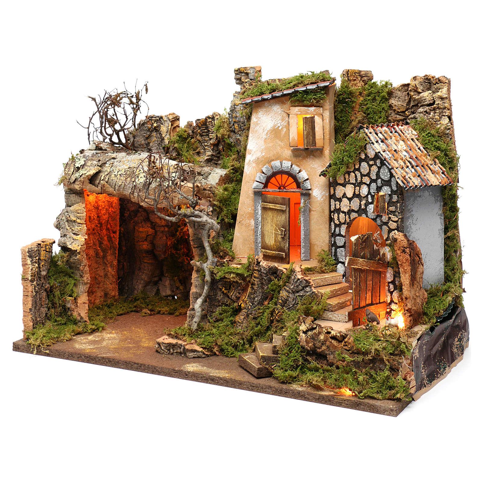 Ambientazione con grotta e luci, dimensioni 40X50X30 cm  4