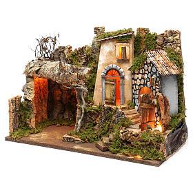 Ambientazione con grotta e luci, dimensioni 40X50X30 cm  s2