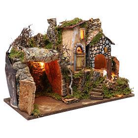 Ambientazione con grotta e luci, dimensioni 40X50X30 cm  s3