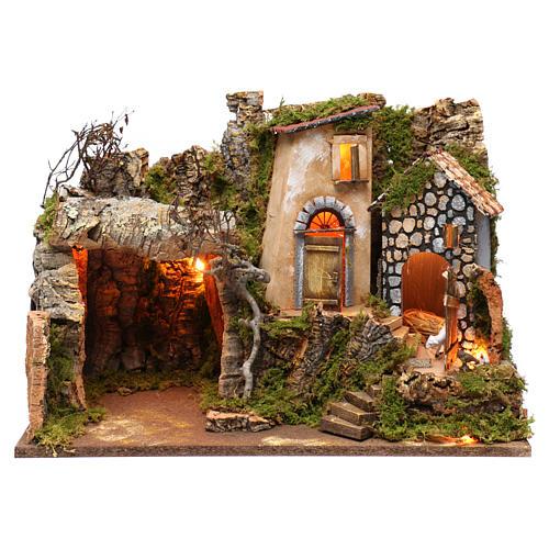 Ambientazione con grotta e luci, dimensioni 40X50X30 cm  1