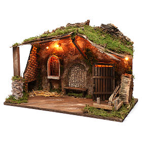 Stable for Nativity Scene with lights, 40X50X30 cm s2