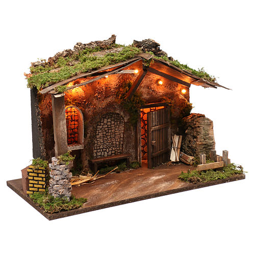 Stable for Nativity Scene with lights, 40X50X30 cm 3