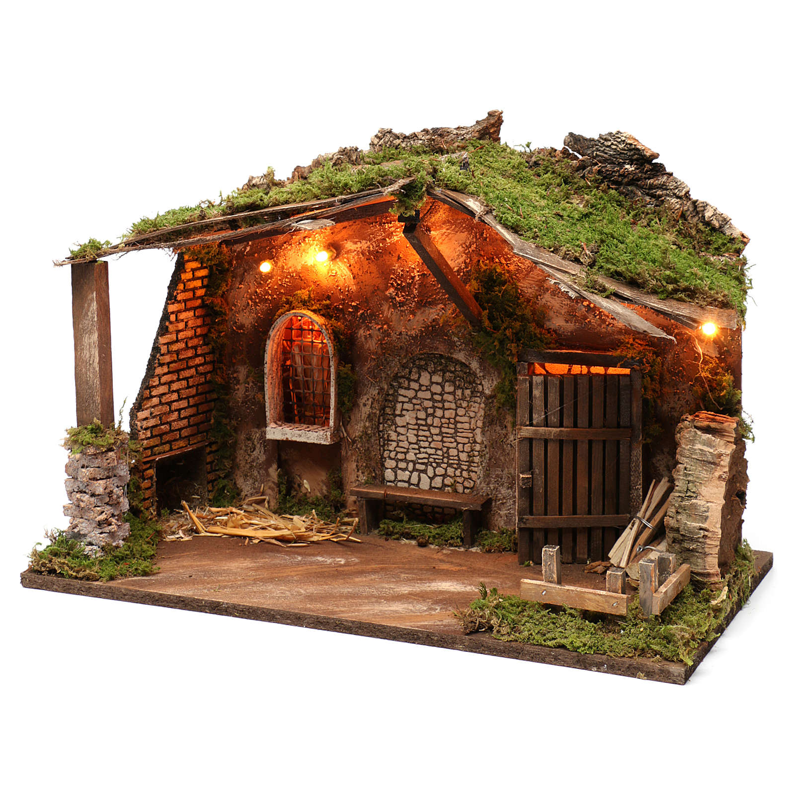 Cabaña para belén con luces, dimensiones 40x50x30 cm 4
