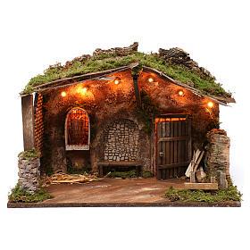 Cabaña para belén con luces, dimensiones 40x50x30 cm s1