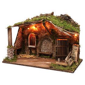 Cabaña para belén con luces, dimensiones 40x50x30 cm s2