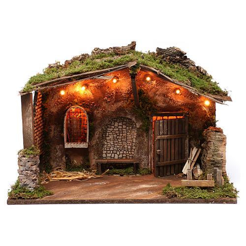 Cabaña para belén con luces, dimensiones 40x50x30 cm 1
