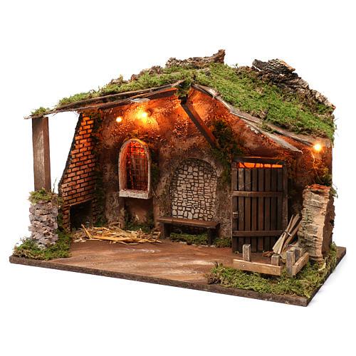 Cabaña para belén con luces, dimensiones 40x50x30 cm 2