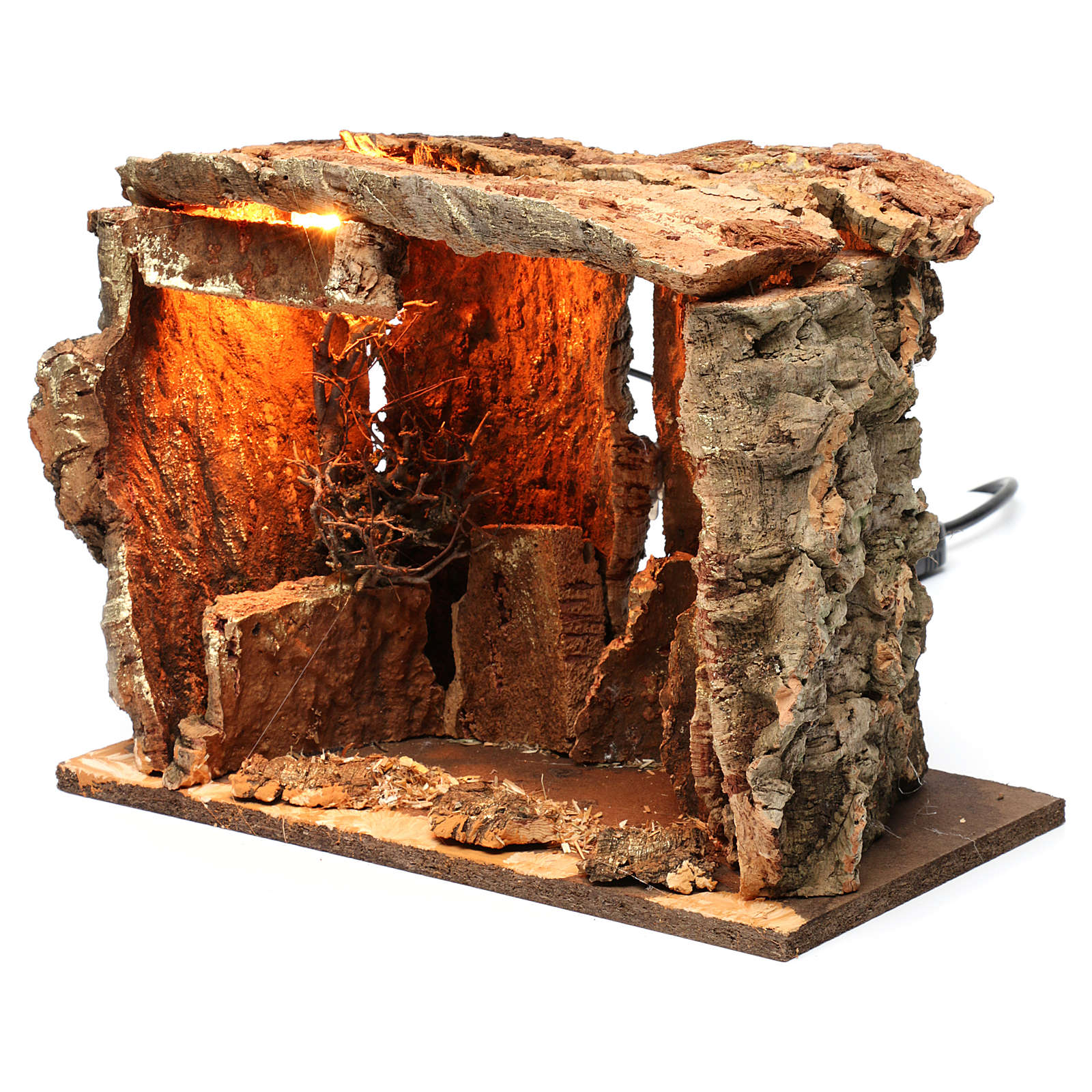 Capanna per presepe con luce e albero, dimensioni 25X30X20 cm  4