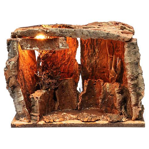 Capanna per presepe con luce e albero, dimensioni 25X30X20 cm  1