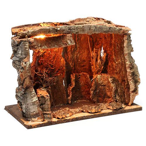 Capanna per presepe con luce e albero, dimensioni 25X30X20 cm  3