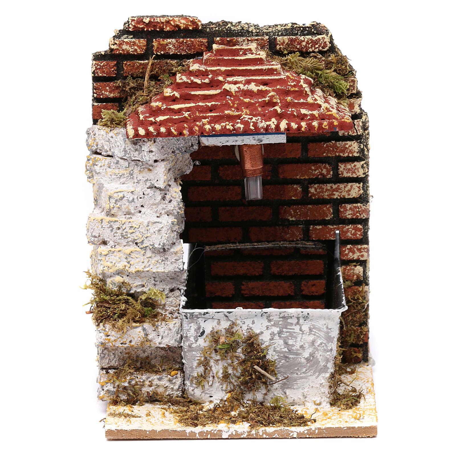 Fontana per presepe con tettoia 15x10x15 cm 4