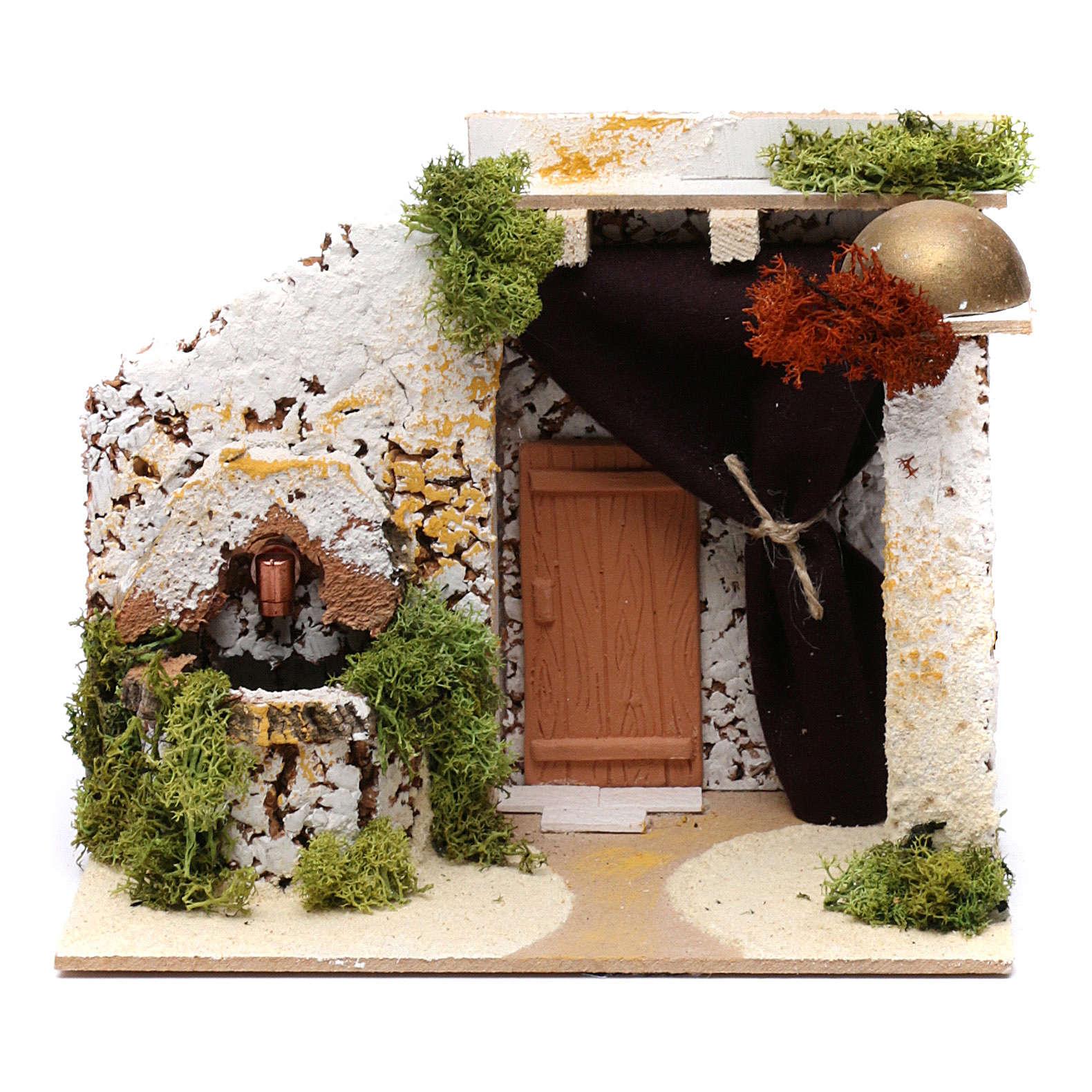Casinha de estilo árabe com fontanário 15x20x15 cm 4
