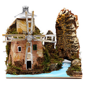 Water mill by the river for Nativity Scene 19x20x14cm s1