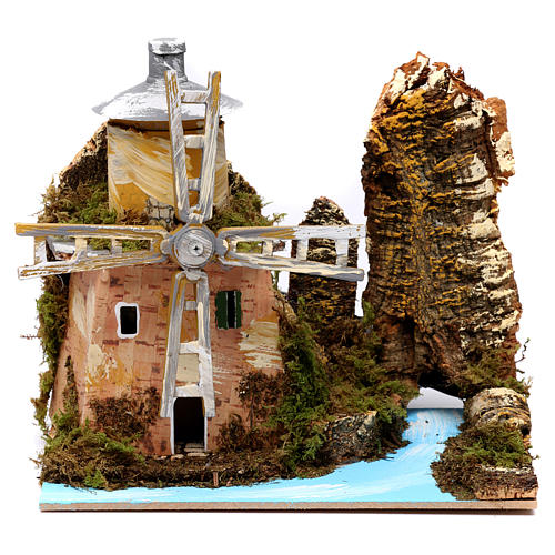 Water mill by the river for Nativity Scene 19x20x14cm 1