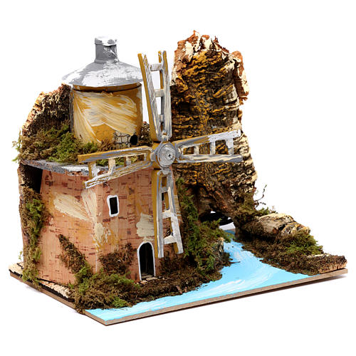 Water mill by the river for Nativity Scene 19x20x14cm 3