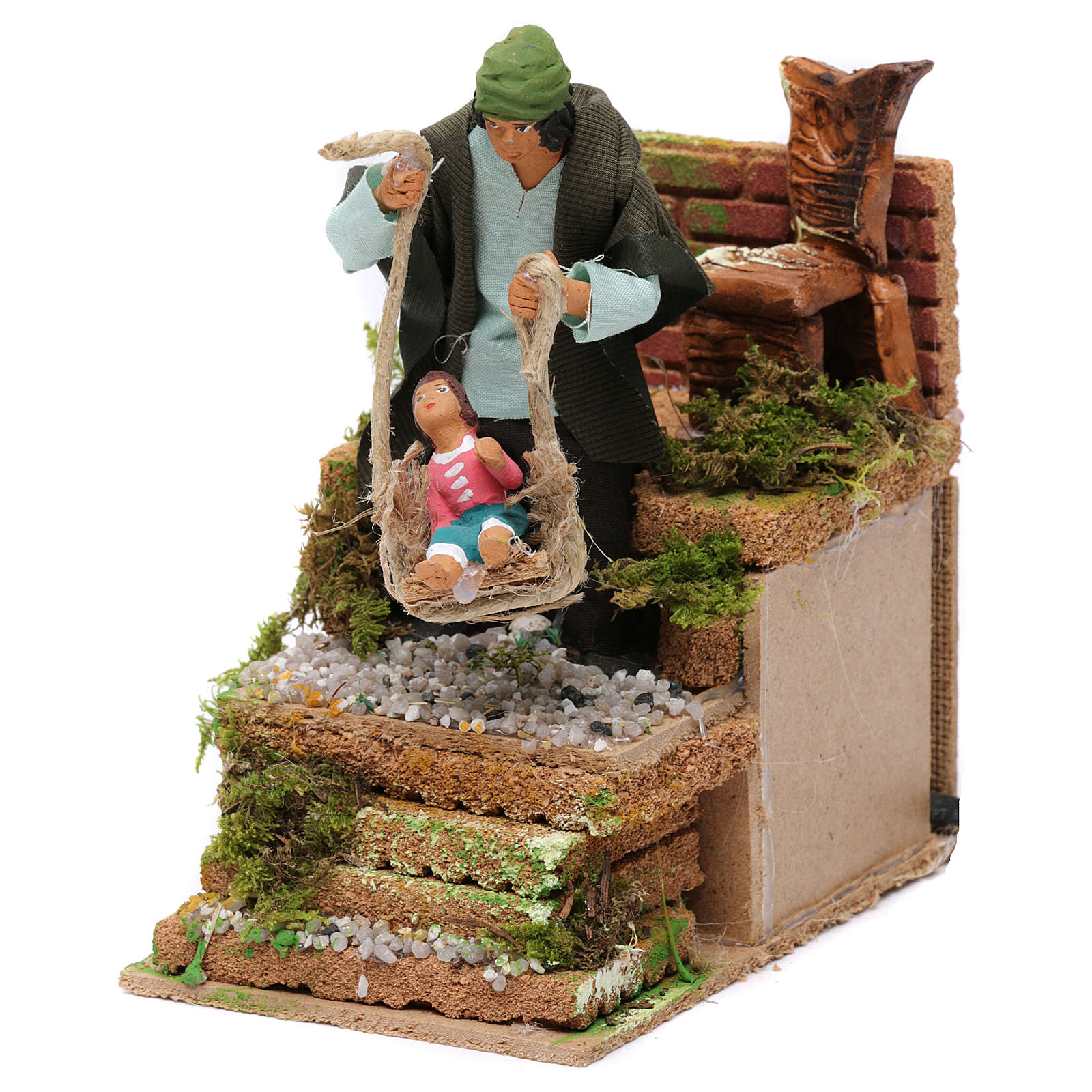 Animated father and baby scene for Nativity Scene 10cm 3