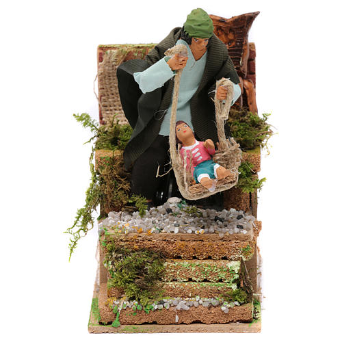 Animated father and baby scene for Nativity Scene 10cm 1