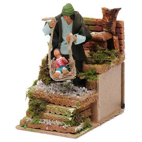 Animated father and baby scene for Nativity Scene 10cm 2