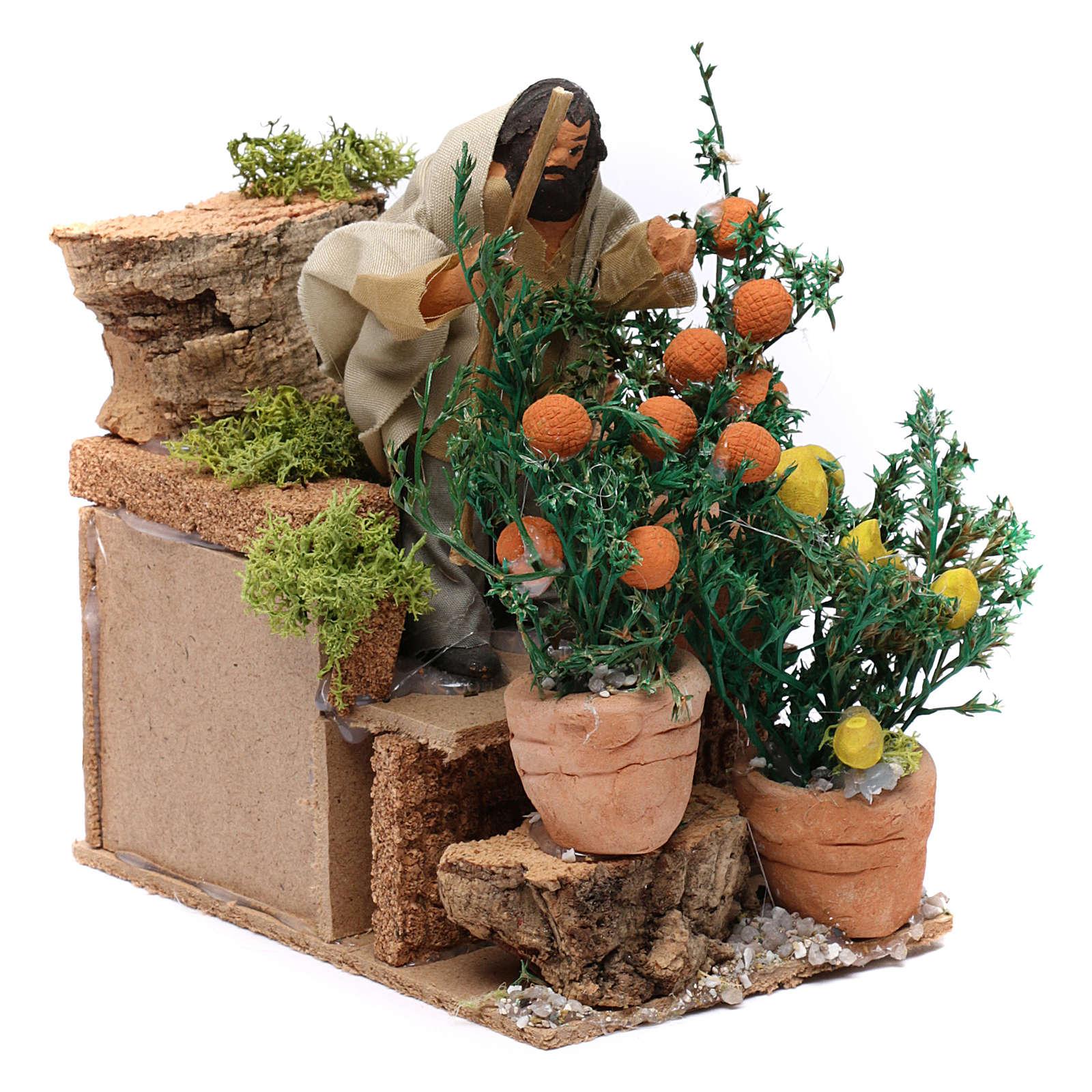 Giardiniere con arance e limoni movimento per presepe 10 cm 3