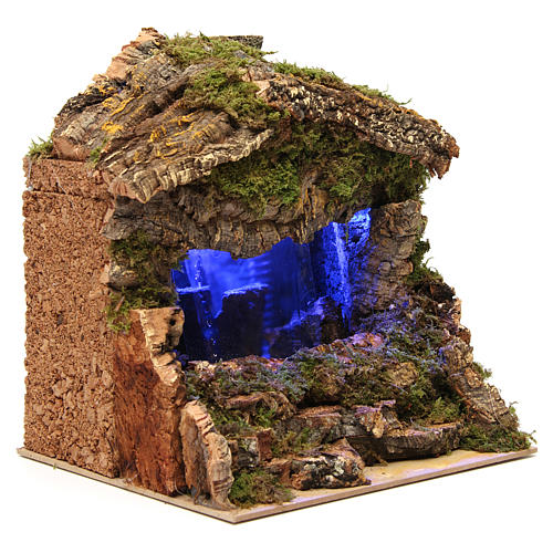 Grotto with Waterfall and lights 25x25x20 cm 3
