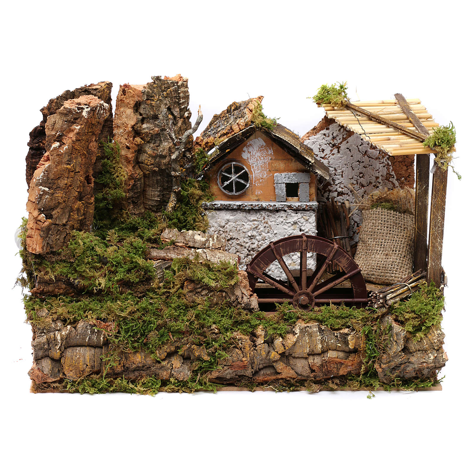 Water mill with small house 25x35x20 cm 4