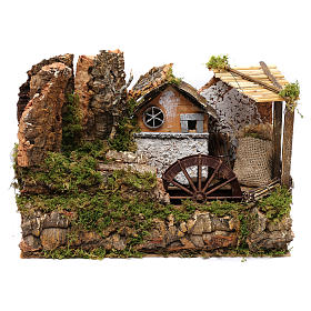 Water mill with small house 25x35x20 cm s1