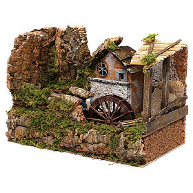 Water mill with small house 25x35x20 cm s2