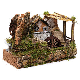 Water mill with small house 25x35x20 cm s3